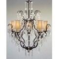 Swarovski Crystal Trimmed Chandelier Lighting Wrought Iron & Crystal Chandelier Lighting & White Shades - Thumbnail 0