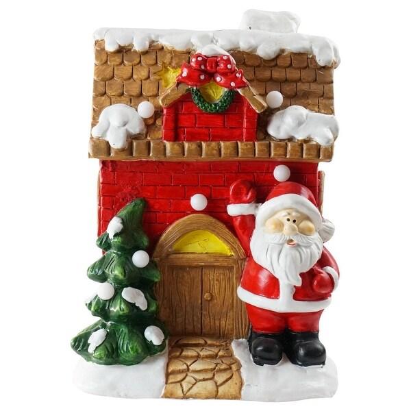 "16"" Christmas Morning LED Lighted Christmas House with Santa Musical Christmas Tabletop Figure - RED"