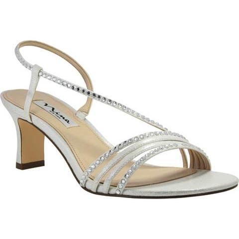a7d0a2f8be96 Nina Women s Gerri Strappy Slingback Sandal Silver Metallic Faux Suede