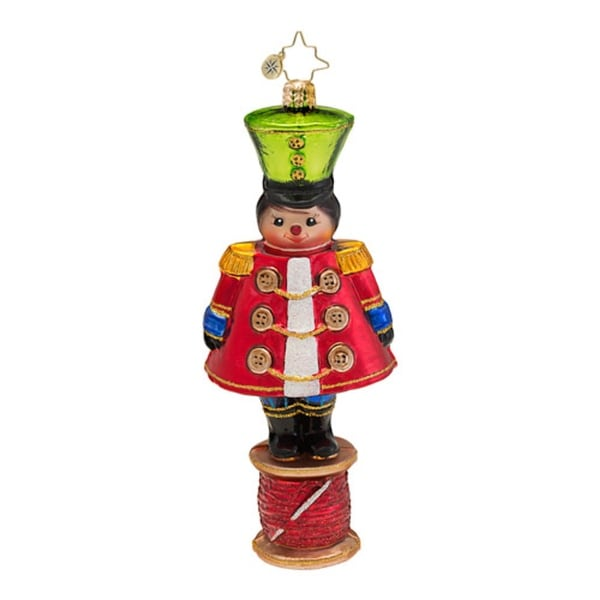 Christopher Radko Glass Military Spool and Needle Christmas Ornament #1016726 - RED