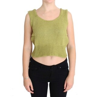 PINK MEMORIES Green Cotton Blend Knitted Sleeveless Sweater - one-size