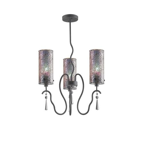 Woodbridge Lighting 14213 M10iri 3 Light 1 Tier Chandelier With Marvelous Colored Gl