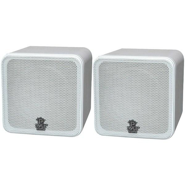 """PYLE HOME PCB4WT 4"""" 200-Watt Mini-Cube Bookshelf Speakers (White)"""