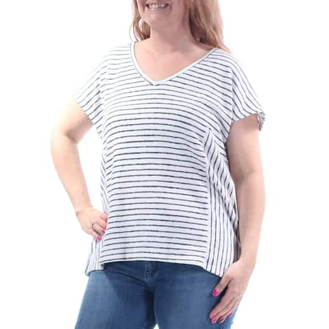 VINCE CAMUTO Womens White Striped Short Sleeve V Neck Top Size: L