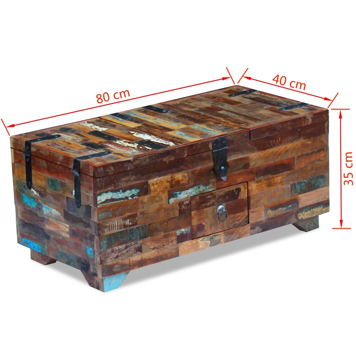 Vidaxl Coffee Table Box Chest Solid Reclaimed Wood 31 5 X15 7 X13 8 Overstock 18964697