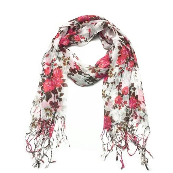 Women's Fashion Floral Soft Wraps Scarves - F1 Coral - Large