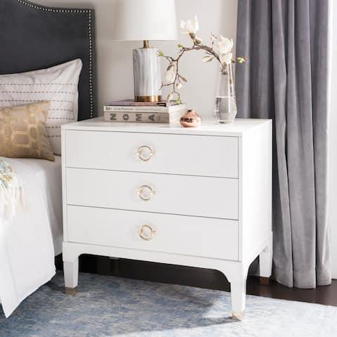 SAFAVIEH Lorna White 3-drawer Nightstand