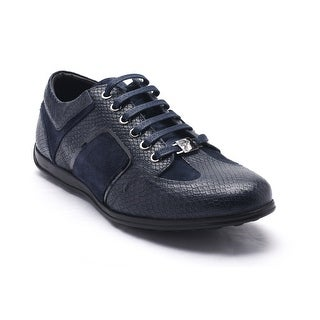 Versace Collections Men's Snakeskin Embossed Leather Low Top Sneakers Shoes Navy
