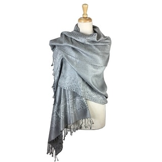 Link to Pashmina Shawl Scarf Wrap Border Pattern Double Layered Reversible Similar Items in Scarves & Wraps