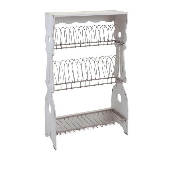 "22"" x 38"" Olde Country Porch Wooden Weathered White Plate Rack"