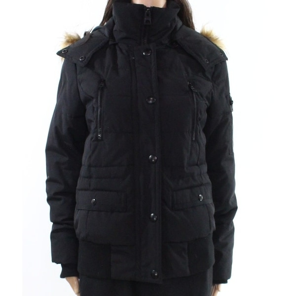 13f1a9b93e Shop Guess NEW Black Womens Size Small S Faux-Fur Trim Hooded Puffer Jacket  - Free Shipping On Orders Over $45 - Overstock - 20763116