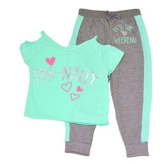 "Little Girls Mint Gray ""Fri-Nally"" Heart Weekend Print 2 Pc Pajama Set"