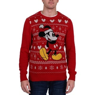 Disney Mens Mickey Pullover Sweater Christmas Holiday