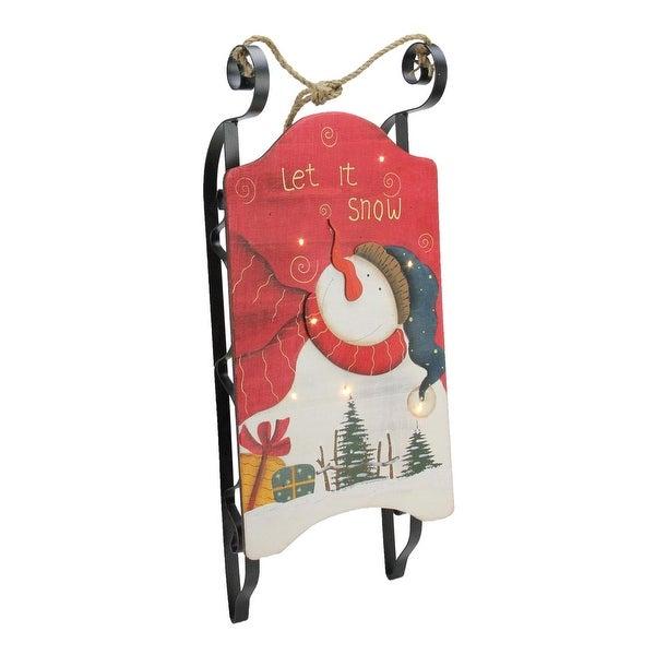 "22.25"" Hanging Wooden and Metal Let It Snow LED Decorative Christmas Sleigh - WHITE"