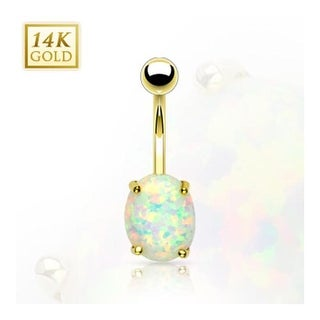 14 Karat Solid Yellow Gold Prong-Set Sythetic Opal Stone Navel Belly Button Ring