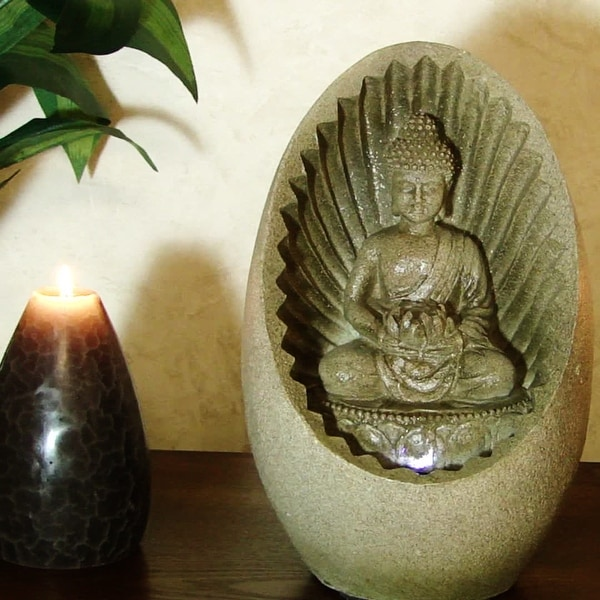 Alpine Buddha Tabletop Fountain with LED Lights