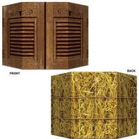 """Pack of 6 Double-Sided Western Themed Saloon Doors and Hay Bale Photo Prop Decorations 37"""" x 25"""" - brown"""