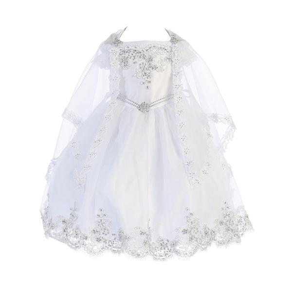 Angels Garment Baby Girls White Organza Lace Trim Christening Dress