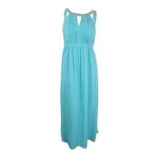 City Chic Women's Plus Size Beaded Halter Gown (S, Aqua)