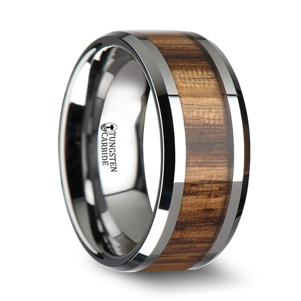 Palmaletto Tungsten Carbide Ring With Beveled Edges And Real Zebra Wood Inlay