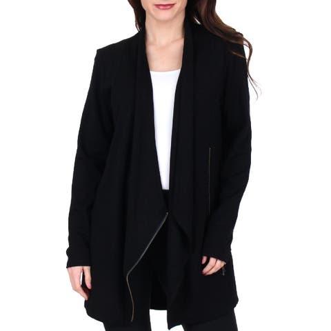 Nic + Zoe Womens Studio Knit Blazer Drapey Asymmetrical