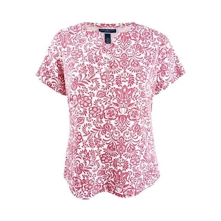 Karen Scott Plus Size Cotton Henley T-Shirt