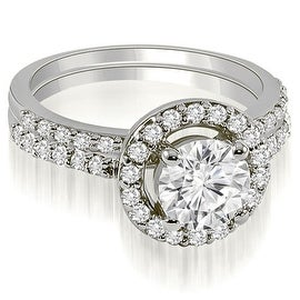 0.86 cttw. 14K White Gold Halo Round Cut Diamond Bridal Set