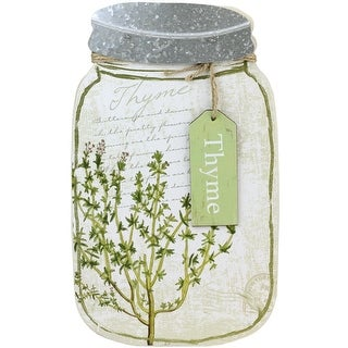 "14.25"" Decorative Thyme Herb Mason Jar Wall Hanging Plaque"