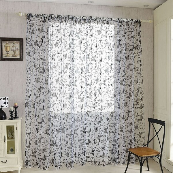 Shop Home Door Voile Drapes Window Butterfly Decor Sheer