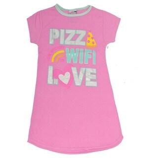 """Sweet n Sassy Girls Purple """"Pizza Wifi Love"""" Fun Print Nightgown"""