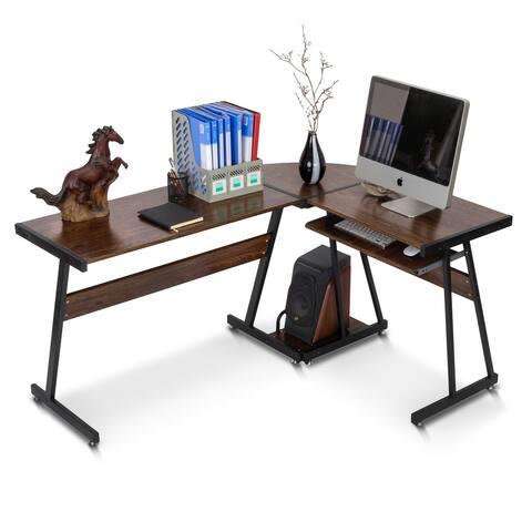 Brown L-Shaped Desk Reversible Corner Office Desk Gaming Desk Modern Computer Desk