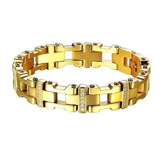 Cross Design Link Bracelet Stainless Steel Lab Diamonds Gold Tone 14mm