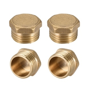 "Brass Pipe Fitting, Cored Hex Head Plug 1/2""G Male Connector Coupling 4pcs - 1/2"" G 4pcs"
