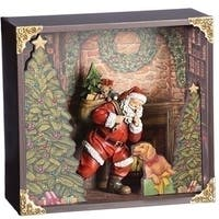 """Pack of 2 Red and Dark Green Christmas Decoration Santa with Dog 11"""""""