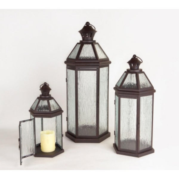 "Set of 3 Brown and Clear Pillar Candle Lanterns 27.5"" - N/A"
