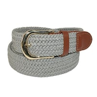 CTM® Men's Elastic Stretch Belt with Gold Buckle and Tan Tabs