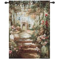 "Summer Garden Pergola Cotton Tapestry Wall Art Hanging 47"" x 35"" - multi"
