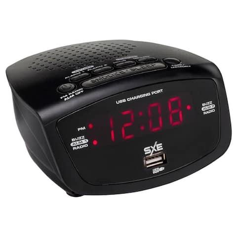 SXE Electronics SXE86001X Digital FM Radio Alarm Clock with USB Port