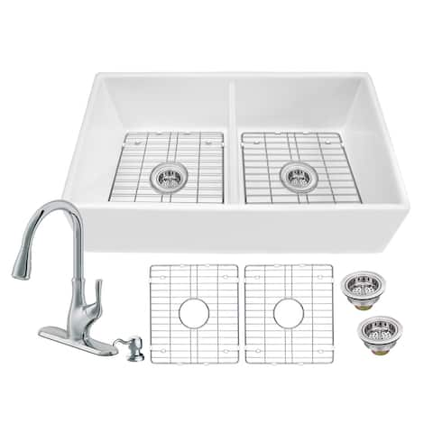 Soleil All-In-One White Fireclay Plain/Picture Frame Reversible 50/50 Double Bowl Apron Front Kitchen Sink with Pull Out Faucet