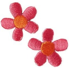 Pink Flowers 2/Pkg - Iron-On Appliques