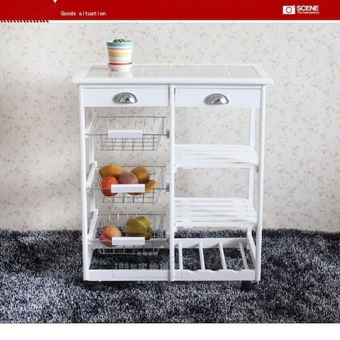 Kitchen & Dining Room Kitchen Cart 2-Drawer Removable Storage Rack