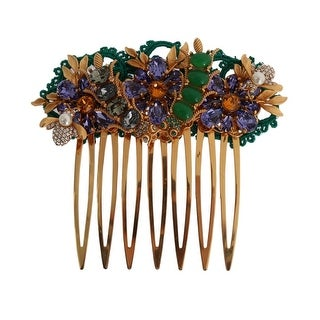 Dolce & Gabbana Gold Crystal Floral Fly Hair Comb - One Size