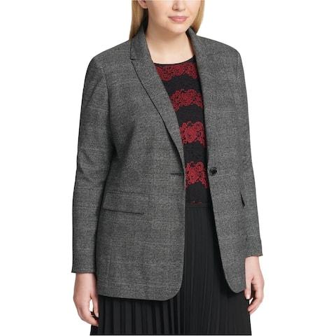 Calvin Klein Womens Plaid One Button Blazer Jacket, Grey, 18W