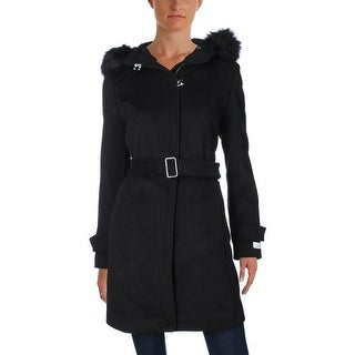 Calvin Klein Womens Long Coat Wool Hooded - M