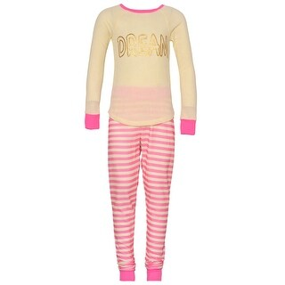 "Girls Ivory Pink Gold Glitter ""Dream"" Stripe Print 2 Pc Pajama Set 7/8"