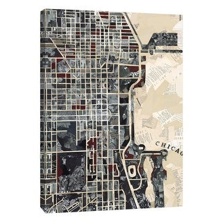 "PTM Images 9-105289  PTM Canvas Collection 10"" x 8"" - ""Chicago"" Giclee Maps Art Print on Canvas"