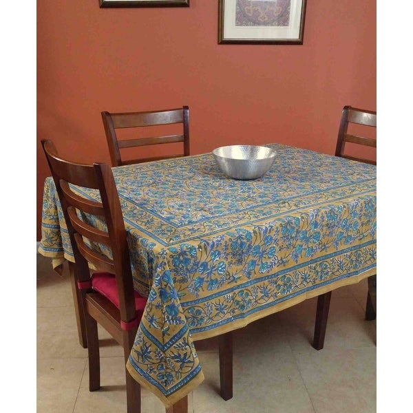 Handmade Floral Berry Block Print Tablecloth Rectangular Cotton Brown Table Linen