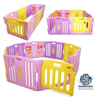 Kidzone Kids Play Center Playpen 8Pcs Safety Gate ASTM Certified Pink - standard