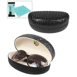 JAVOedge Maze Textured Pattern Hard Clamshell Eyeglass  / Sunglass Case - Black