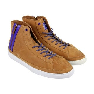 Radii Corporation Mens Tan Leather High Top Lace Up Sneakers Shoes